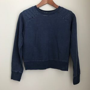 Zara navy quilted shoulder pullover sweatshirt